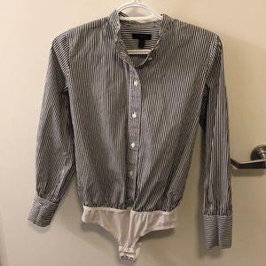 J Crew Pinstripe Button Down Body Suit Size 2